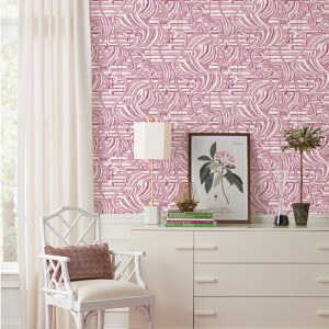 CY1503 York Wallcovering Conservatory Flamingo Flamboyance Wallpaper Pink Room Setting