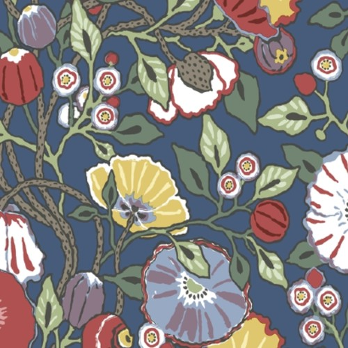 CY1515 York Wallcoverings Conservatory Vincent Poppies Wallpaper Navy