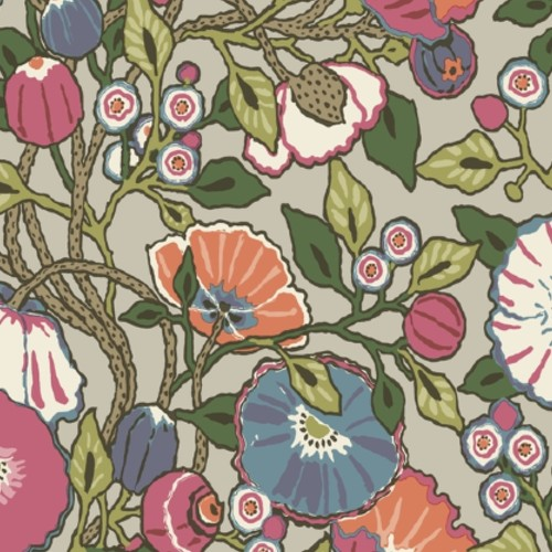 CY1516 York Wallcoverings Conservatory Vincent Poppies Wallpaper Brights