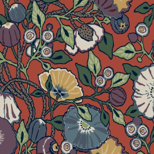 CY1520 York Wallcoverings Conservatory Vincent Poppies Wallpaper Red