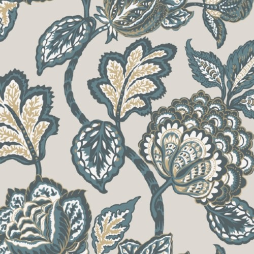 CY1537 York Wallcovering Conservatory Midsummer Jacobean Wallpaper Taupe Turquoise