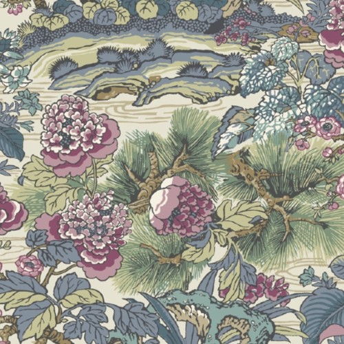 CY1545 York Wallcovering Conservatory Dynasty Floral Branch Wallpaper Plum