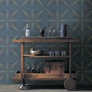 2902-25526 Brewster Wallcovering A Street Prints Theory Radius Geometric Wallpaper Navy Room Setting