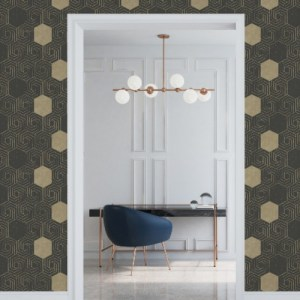 2902-25548 Brewster Wallcovering A Street Prints Theory Momentum Geometric Wallpaper Dark Brown Room Setting