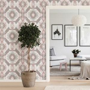 2902-25550 Brewster Wallcovering A Street Prints Theory Kazac Shibori Wallpaper Light Pink Room Setting