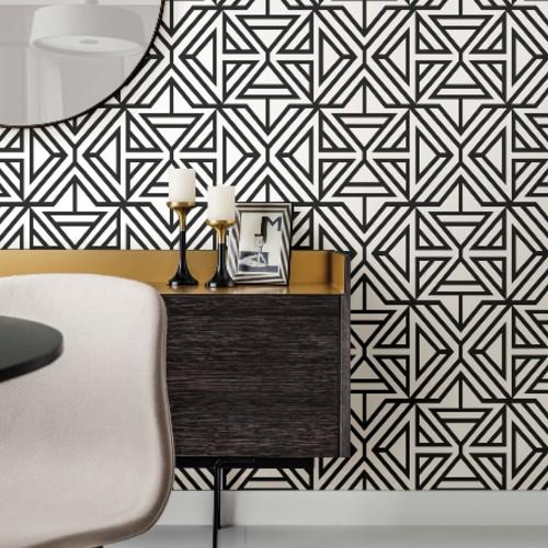 2902-2553 Brewster Wallcovering A Street Prints Theory Helios Geometric Wallpaper Black Room Setting