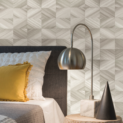 2922-25377 Brewster Wallcovering A Street Prints Trilogy Stratum Geometric Wood Wallpaper Taupe Room Setting