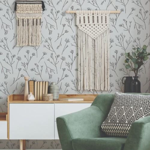 RMK11374RL York Wallcovering RoomMates Twigs Peel and Stick Wallpaper Beige Room Setting
