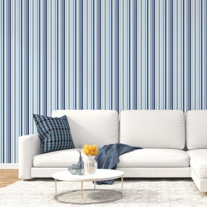 ST36911 Patton Wallcovering Norwall Simply Stripes 3 Step Stripe Wallpaper Navy Room Setting