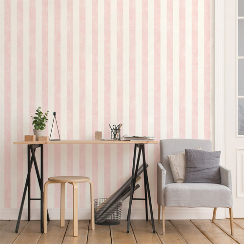 ST36935 Patton Wallcovering Norwall Simply Stripes 3 Stripes With Texture Wallpaper Pink Room Setting