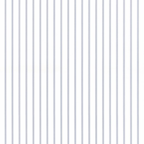 SY33929 Patton Wallcovering Norwall Simply Stripes 3 Ticking Stripe Wallpaper Blue