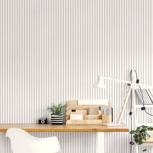 SY33934 Patton Wallcovering Norwall Simply Stripes 3 Ticking Stripe Wallpaper Black Room Setting