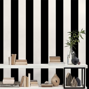 SY33937 Patton Wallcovering Norwall Simply Stripes 3 Wide Stripe Wallpaper Ebony Room Setting