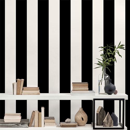 SY33937 Patton Wallcovering Norwall Simply Stripes 3 Wide Stripe Wallpaper Ebony Room Setting