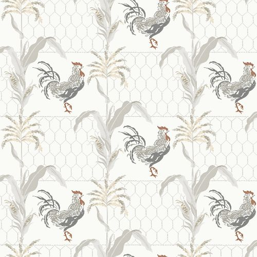 3119-13021 Brewster Wallcovering Chesapeake Kindred Hank Rooster Wallpaper Grey