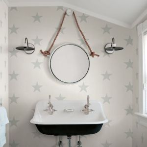 3119-13061 Brewster Wallcovering Chesapeake Kindred McGraw Stars Wallpaper Teal Room Setting