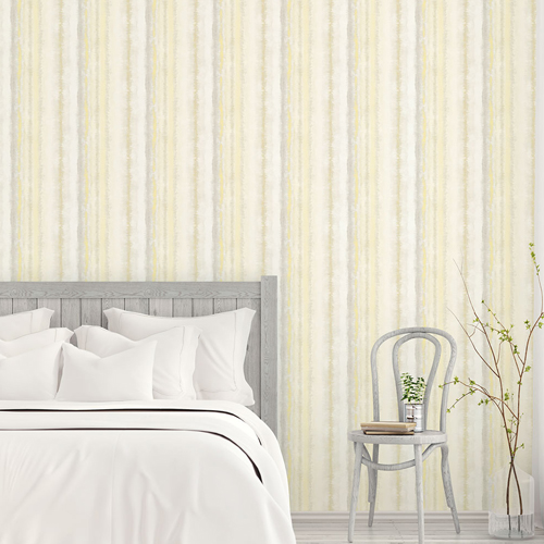 FW36807 Patton Wallcovering Norwall Fresh Watercolors Frequency Stripe Wallpaper Yellow Room Setting