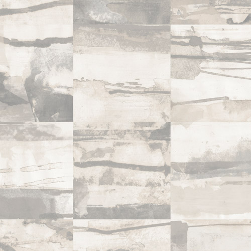 FW36813 Patton Wallcovering Norwall Fresh Watercolors Aquarelle Tile Wallpaper Grey