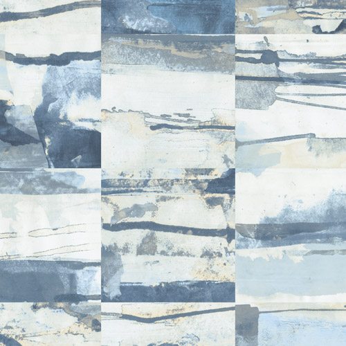 FW36815 Patton Wallcovering Norwall Fresh Watercolors Aquarelle Tile Wallpaper Blue