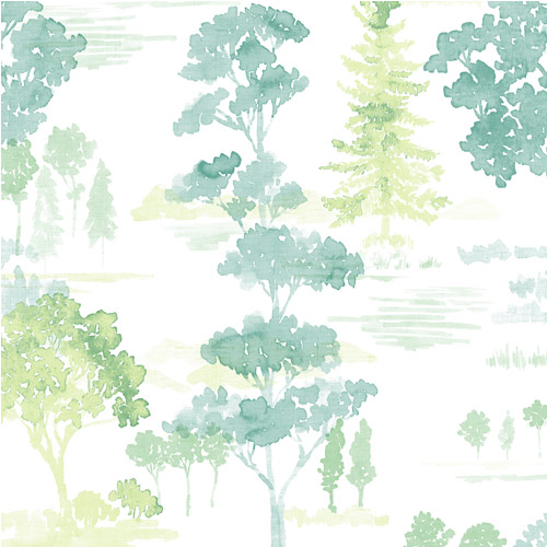 FW36832 Patton Wallcovering Norwall Fresh Watercolors Forest Wallpaper Green