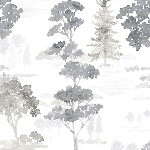 FW36833 Patton Wallcovering Norwall Fresh Watercolors Forest Wallpaper Black