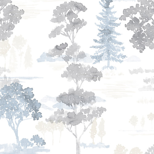 FW36834 Patton Wallcovering Norwall Fresh Watercolors Forest Wallpaper Grey