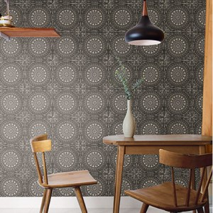 RY30700 Seabrook Wallcoverings Boho Rhapsody Mandala Wallpaper Charcoal Room Setting