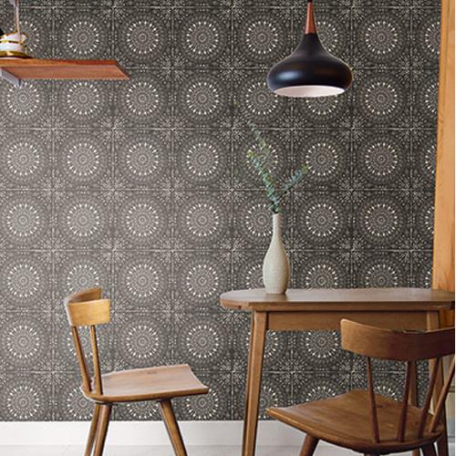RY30700 Seabrook Wallcoverings Boho Rhapsody Mandala Wallpaper Charcoal Room Setting