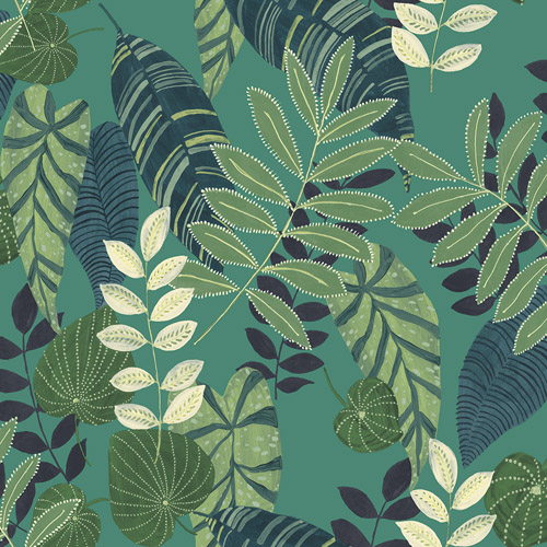 RY30914 Seabrook Wallcovering Boho Rhapsody Tropicana Wallpaper Green