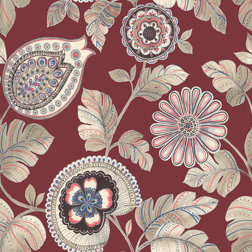 RY31201 Seabrook Wallcoverings Boho Rhapsody Calypso Wallpaper Red