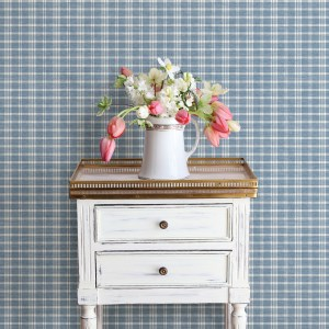 3119-02146 Brewster Wallcovering Chesapeake Kindred Tristan Prairie Gingham Wallpaper Navy Room Setting