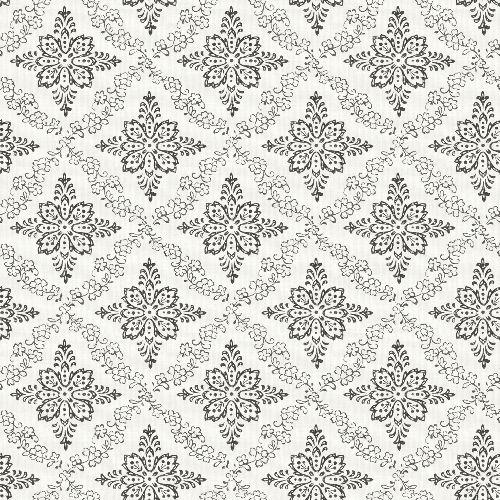 3119-13534 Brewster Wallcovering Cheseapeake Kindred Wynonna Geometric Floral Wallpaper Black