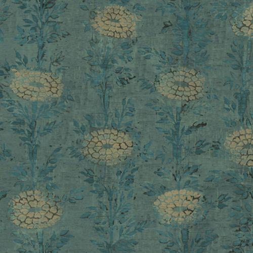 AF6519 York Wallcoverings Ronald Redding Tea Garden French Marigold Wallpaper Teal