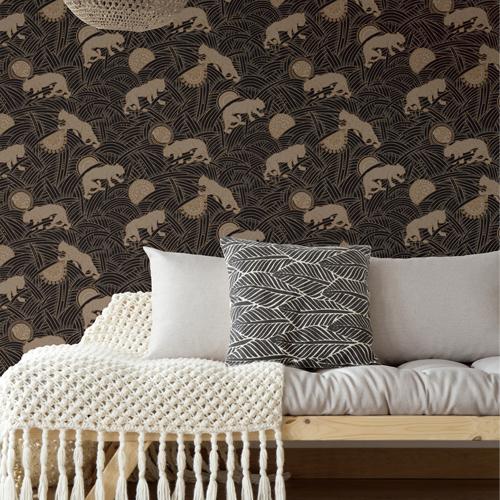 AF6550 York Wallcoverings Ronald Redding Tea Garden Tibetan Tigers Wallpaper Black Room Setting