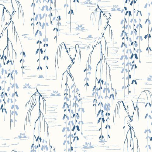 AF6582 York Wallcovering Ronald Redding Tea Garden Willow Branches Wallpaper Blue