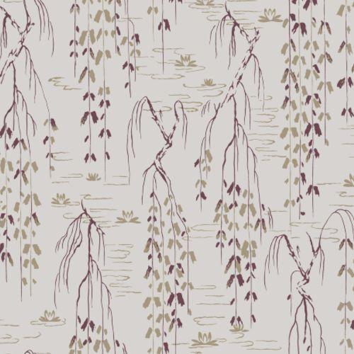 AF6584 York Wallcovering Ronald Redding Tea Garden Willow Branches Wallpaper Grey