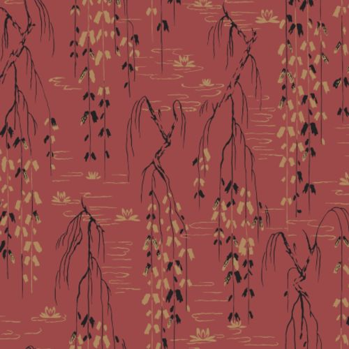 AF6585 York Wallcovering Ronald Redding Tea Garden Willow Branches Wallpaper Red
