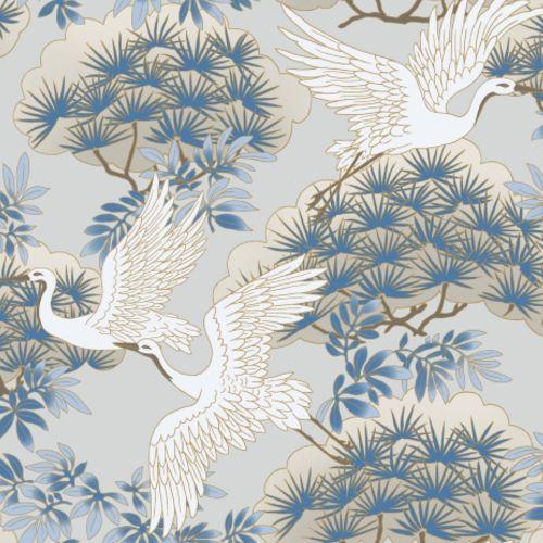 AF6591 York Wallcovering Ronald Redding Tea Garden Sprig and Heron Wallpaper Light Blue