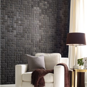 AF6605 York Wallcoverings Ronald Redding Tea Garden Teahouse Panel Natural Wood Wallpaper Black Room Setting