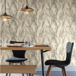 NA0503 York Wallcoverings Candice Olson Botanical Dreams Peaceful Plume Wallpaper Dark Grey Room Setting
