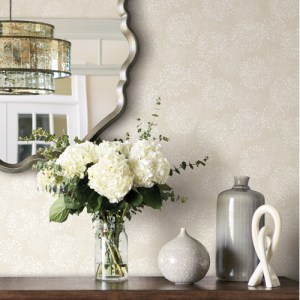 NA0578 York Wallcoverings Candice Olson Botanical Dreams Grandeur Wallpaper Off-White Room Setting