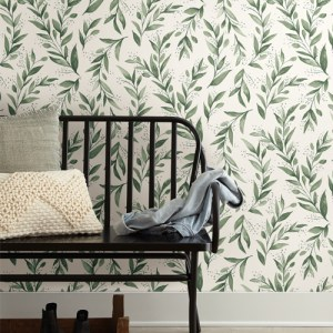 PSW1001RL Magnolia Olive Branch Green Peel and Stick Wallpaper Room Setting by York Wallcovering