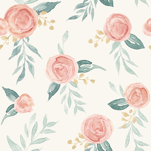 PSW1011RL Magnolia Watercolor Roses Peach Peel and Stick Wallpaper
