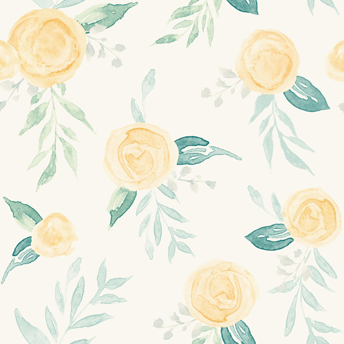 PSW1012RL Magnolia Watercolor Roses Yellow Peel and Stick Wallpaper