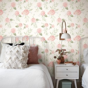 PSW1013RL Magnolia Watercolor Roses Blush Peel and Stick Wallpaper Room Setting by York Wallcovering