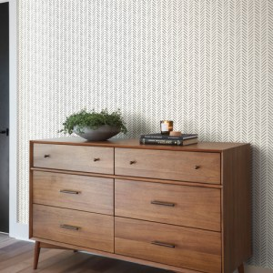 PSW1020RL Magnolia Pick-Up Sticks Black Peel and Stick Wallpaper Room Setting by York Wallcovering