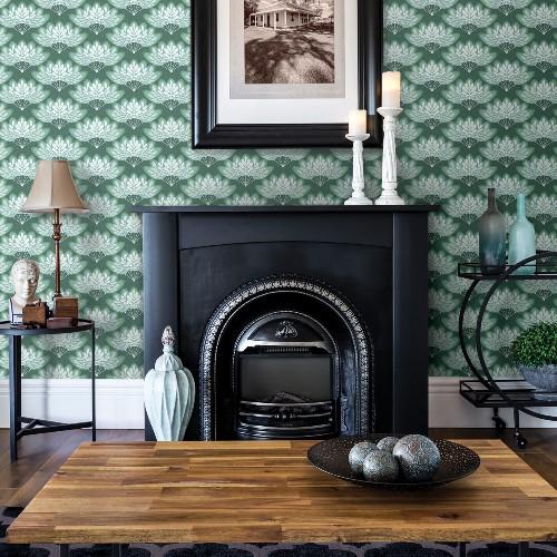 2861-25753 Brewster Wallcoverings A Street Prints Equinox Lotus Floral Fans Wallpaper Grey Room Setting