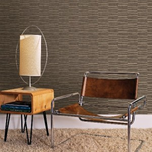 2927-10605 Brewster Wallcoverings Polished Luminescence Abstract Stripe Wallpaper Brown Room Setting