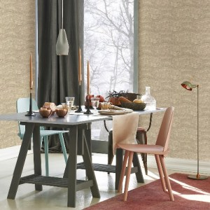 2927-10802 Brewster Wallcovering Polished Hydra Geometric Wallpaper Taupe Room Setting