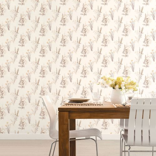 AB42446 Patton Wallcoverings Norwall Flourish Flora Wallpaper Grey Room Setting